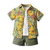Baby Jungen Bekleidungssets Outfits Set, 0-5 Jahre Kleinkind Kinder Baby Boys Gentleman Blumendruck Kurzarm Tops T-Shirt Shorts Kinder Strandbekleidung Set