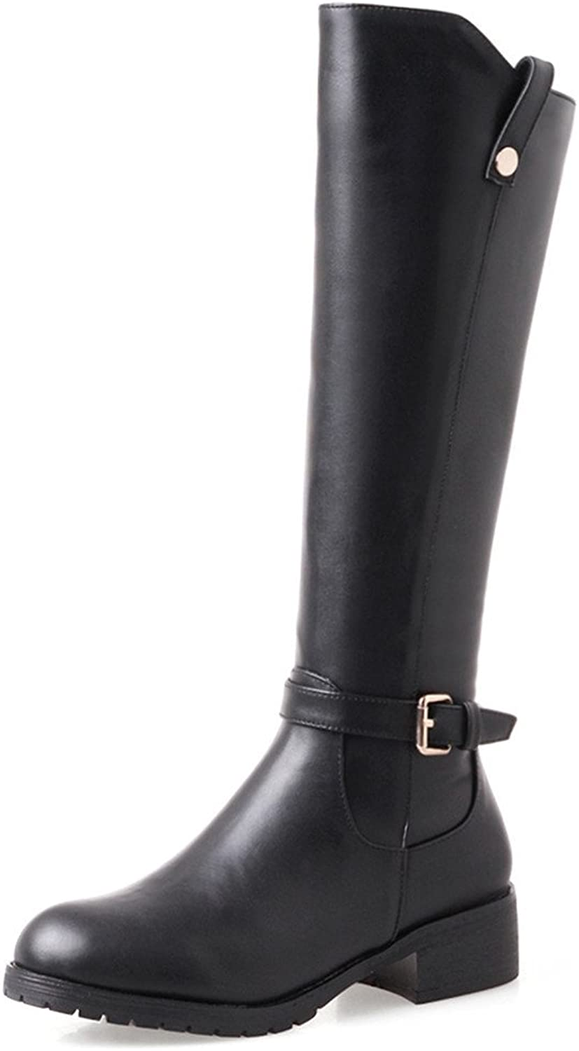 Nine Seven Genuine Leather Women's Round Toe Chunky Heel Handmade Dress Knee High Riding Boots