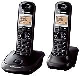 Panasonic KX-TG2512FXT - Kit de 2 teléfonos fijos digitales inalámbricos (DECT, auricular, LCD, AAA, escritorio), negro [versión importada]