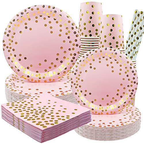 Rorchio Juego de vajilla de fiesta rosa y dorado, incluye plato de papel, tazas de papel, servilletas y pajitas de papel para niñas, fiesta de cumpleaños, baby shower, boda, sirve 24