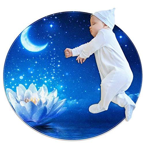 rdsworth Toby Lotus Moonlight Teppich Baby Boden Spielmatte Krabbelmatte Spielmatte Spielmatte Deko für Kinderzimmer 27,6x27,6IN, mehrfarbig03, 100x100cm/39.4x39.4IN