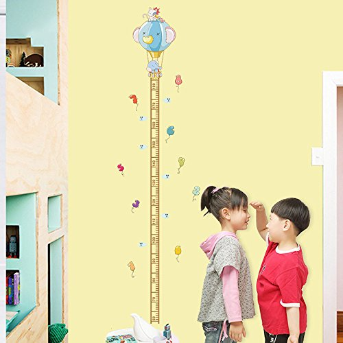 ZOOARTS Cartoon Elephant Hot Air Balloon Squirrel Growth Chart Height Measure Wall Stickers For Kids Room Decorative Wall Decor Animal Wall Decals