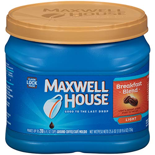 Maxwell House Breakfast Blend Light Roast Ground Coffee (25.6 oz Canister)