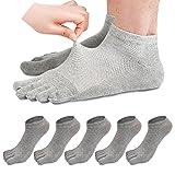 REKYO 5 Pares Hombres Toe Calcetines Cinco Dedos Calcetines De Algodón Suave Y Transpirable Bajo Corte Calcetines para Hombres (Gris Claro)