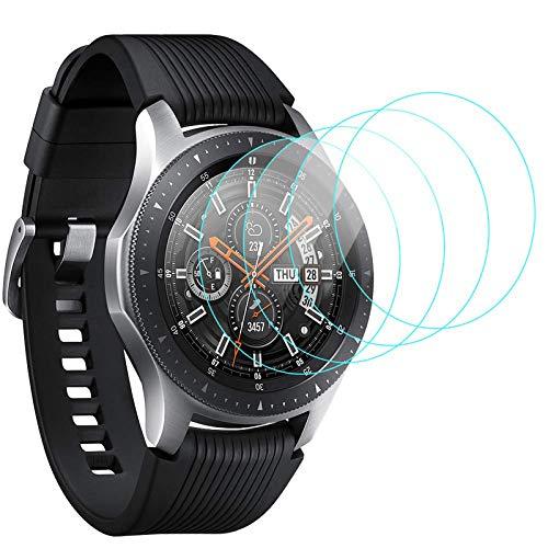 CAVN 4-Stücke Panzerglas Kompatibel mit Samsung Galaxy Watch 46mm Schutzfolie, 9H Kratzfest Gehärtetes Panzer Glas Schutz Bildschirmschutzfolie Schutzglas Folie für Galaxy Watch 46mm