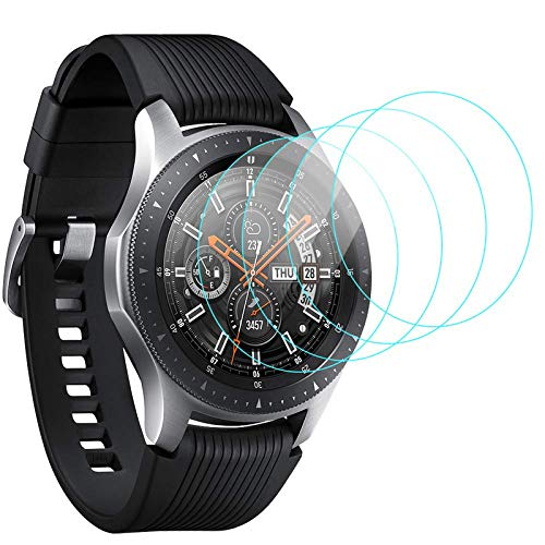 CAVN [4-Stück Panzerglas Kompatibel mit Samsung Galaxy Watch 46mm /Gear S3 Frontier/Classic Schutzfolie, Wasserdichtes Glas Schutz Bildschirmschutzfolie 46 mm Gear S3 [Anti-Kratzen] [Anti-Bläschen]