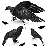 Halloween Crow Decorations 3 Pack, Realistic Handmade Black Feather Crows Prop Fly and Stand Crows Ravens for Outdoors and Indoors Halloween Decorations