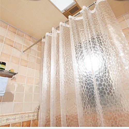 AooHome 91,4 x 182,9 cm Duschvorhang-Auskleidung, EVA-3D-Wasserwürfel-Duschvorhang mit Bodenmagneten, wasserdicht, strapazierfähig, halbtransparent