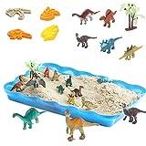 恐竜の砂場 砂遊びおもちゃ 砂場セット 砂セット 室内砂場 砂粘土おもちゃ 手を汚さない 12恐竜置物 20型抜き 付きサンドボックス
