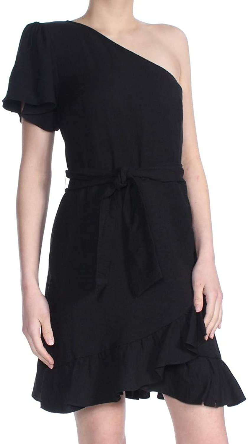 1.STATE Womens One Shoulder Ruffled Party Dress