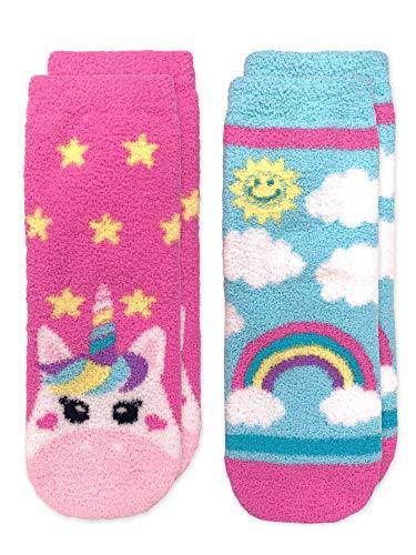 Jefferies Socks Mädchen Girl's Unicorn and Colorful Rainbow Fuzzy Slipper 2 Pack, Einhorn & bunter Regenbogen, flauschig, Socken, 2er-Pack, Mehrfarbig, Größe M (US), Multi, Medium