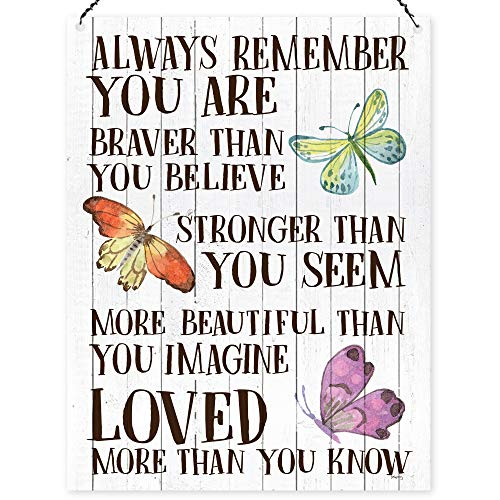 """Dorothy Metall-Schild mit Audruck """"Always Remember You Are Braver Than You Believe"""" ,inspirierend, 15x 20cm"""