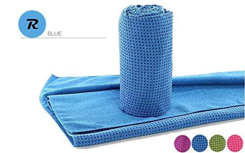 Robson Handtuch für Yogamatte inkl Tasche, rutschfest durch Silikonpunkte, 183cm x 63cm, Geeignet für Yoga, Freeletics, Antibakteriell,Schweiß absorbierend, Premium Mikrofaser Qualität, (Blue)