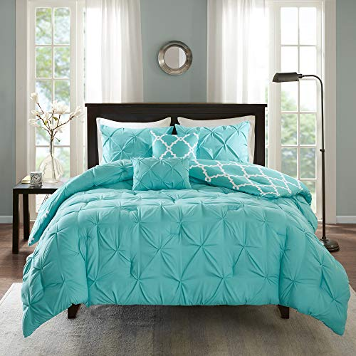 Madison Park Essentials Kasey Comforter Set-Casual Tufted Diamond Design to Ogee Print Reverse All Season Cozy Bedding, Shams, Decorative Pillow, King/Cal King(104u0022x92u0022), Aqua 5 Piece