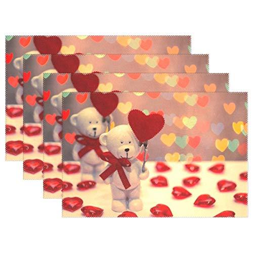 Promini Hitzebeständige Tischsets Valentinstag Bär Herz waschbar Polyester Tischmatten Rutschfest waschbar Platzsets für Küche Esszimmer 4 Stück