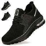 Zapatos de Seguridad Hombre Mujer Zapatillas de Trabajo con Punta de Acero Ligeras Transpirables Calzado de Seguridad con Colchón de Aire Calzado de Industrial y Deportivos Unisexo Negro Puro EU 42