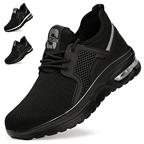 Zapatos de Seguridad Hombre Mujer Zapatillas de Trabajo con Punta de Acero Ligeras Transpirables Calzado de Seguridad con Colchón de Aire Calzado de Industrial y Deportivos Unisexo Negro Puro EU 45