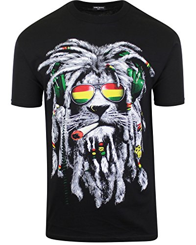 Mens Marijuana Enthusiast Weed Shirts (Rasta Lion Joint, 2XL)