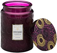 product image for Voluspa Santiago Huckleberry Large Embossed Glass Jar Candle, 18 Ounces