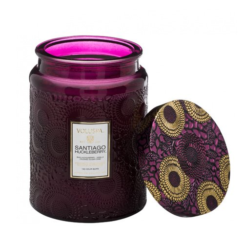 Voluspa Santiago Huckleberry Candle   Large Glass Jar   18 Oz.   Clean Burning Coconut Wax with Natural Wicks