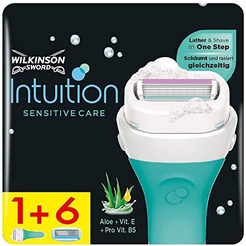 Wilkinson Sword Intuition Sensitive Care - Confezione da 1 Rasoio Donna + 6 Lame di Ricambio - Confezione adatta alla buca da lettere