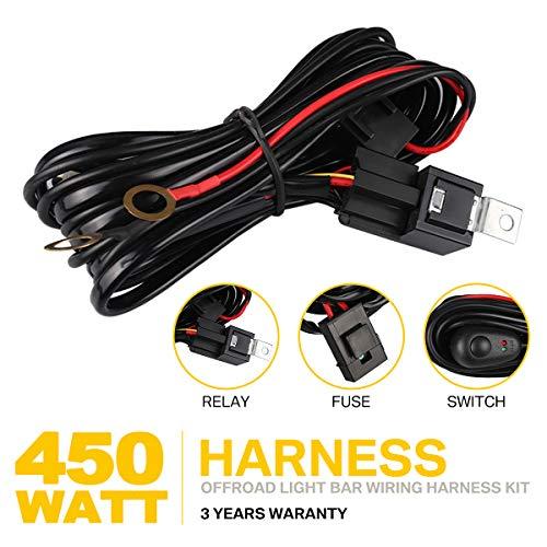 Kabelbaum Arbeitsscheinwerfer für LED Licht Bar & HID Halogenlampe, 450W Schalter Relais Kit für Fähre ATV SUV, Nebelscheinwerfer & Zubehör (1 Lead)