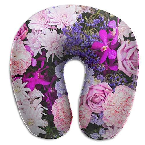 Almohada de viaje en forma de U Colección de flores rosadas y moradas en el jardín Adultos Estudiantes Almohada Travell transpirable en forma de U Almohada de apoyo para la cabeza y el cuello Cojín d