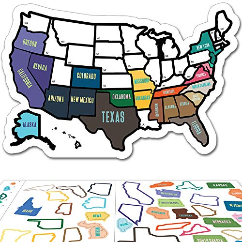 RV State Sticker Travel Map - 11 x 17 - USA States Visited Decal - United States Non Magnet Road Trip Window Stickers - Trailer Supplies & Accessories - Exterior or Interior Motorhome Wall Decals