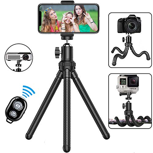Phone Tripod,Shengsite Portable and Extendable Camera Tripod Stand with Wireless Remote Shutter & Universal Clip 360°Rotating Flexible Cell Phone Tripod for iPhone 11/X/XS/8/7,Android,Samsung,GoPro
