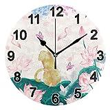 FULUHUAPIN Reloj de pared de gato con flores de loto para baño y cocina para niña niño sin tictac, silencioso, fácil de leer para decoración de dormitorio 22.5 cm, reloj redondo 20300691