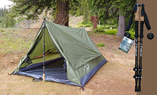 River Country Products Trekker Tent 2.2 Combo with Trekking Poles, Two Person Trekking Pole Backpacking Tent with Trekking Poles – Green