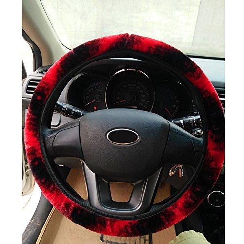 Preisvergleich Produktbild Demiawaking Winter Auto Zusatz weiche elastische warme Plüsch Auto Lenkrad Abdeckung (Dunkel Rot)
