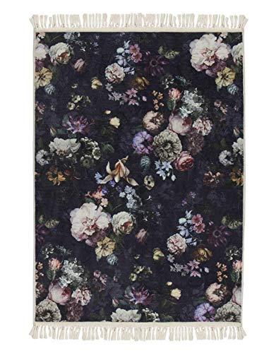 ESSENZA Teppich Fleur Blumen Pfingstrosen Tulpen Polyester Nightblue, 60x90 cm