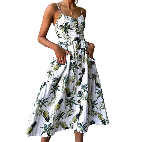 PIZOFF Women's Dresses Summer Floral Pineapple Dress Backless Spaghetti Strap Button Down Midi Dress with Pockets AM071-03-L-Z