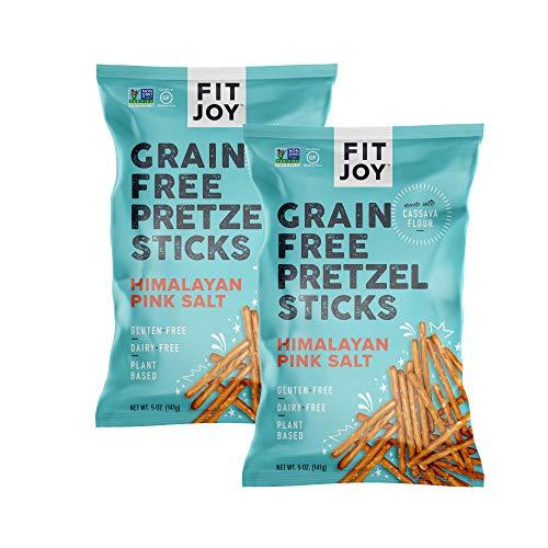 FitJoy Gluten Free Pretzels, Himalayan Pink Salt Sticks, Grain Free, 5 Ounce Bags, 2 Pack