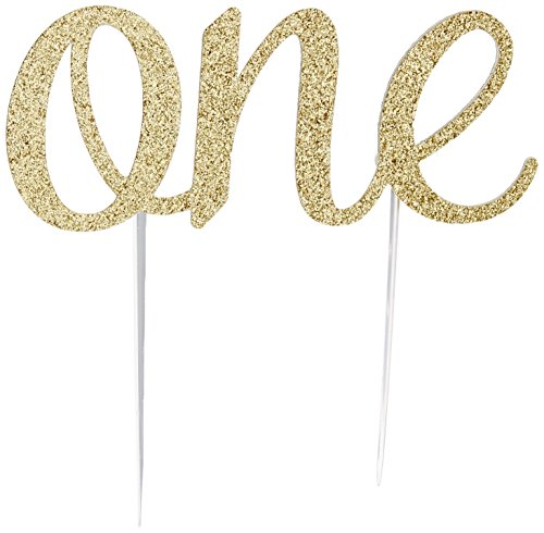 1st Birthday Cake Topper Decoration, Double Sided Glitter (Gold)