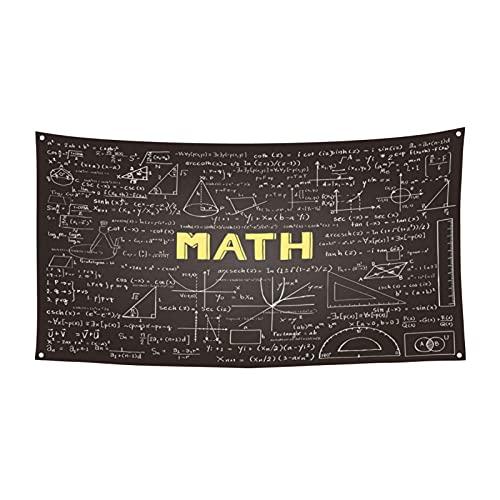 Matemáticas Ecuaciones Aula Pizarra Oscura Gran Bandera Colgante Letras de Fondo para Patio Interior Exterior Fiesta de Halloween