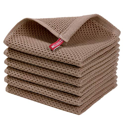 Homaxy 100% Cotton Waffle Weave Kitchen Dish Cloths, Ultra Soft Absorbent Quick Drying Dish Towels, 12x12 Inches, 6-Pack, Brown