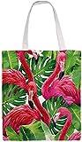 MODORSAN Borsa a tracolla in tela di canapa con fenicottero palma, borse in stoffa riutilizzabili per la spesa, borse tote con stampa fronte-retro