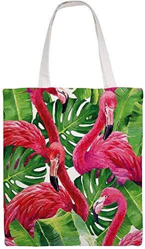 MODORSAN Sac à bandoulière en chanvre palmier flamant rose, sac fourre-tout en toile, sacs en tissu dépicerie réutilisables, sacs à main fourre-tout à impression double face