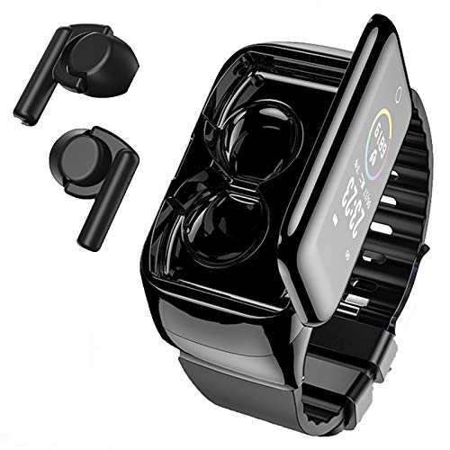 Smart Watch with Bluebooth Earbuds,Wireless Earphones Fitness Tracker Watch 2 in 1,Activity Bracelet with TWS Sleep Music Wristband Headset Heart Rate Blood Pressure (Watch with Earbuds)