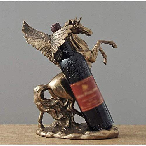 Estante de Vino QWEA, Adornos creativos Tianma de Cobre Fundido en frío, Decoraciones Ligeras de Lujo para gabinetes de Vino para el hogar, portabotellas Decorativo, para el hogar/Bar