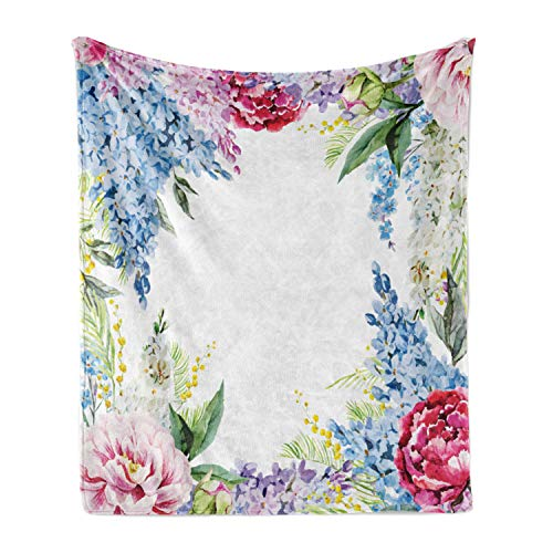 Ambesonne Flower Soft Flannel Fleece Throw Blanket, Springtime Fragrance Garland Bunch of Flowers Lilac Lavender Rose Peony Print, Cozy Plush for Indoor and Outdoor Use, 50' x 70', Multicolor