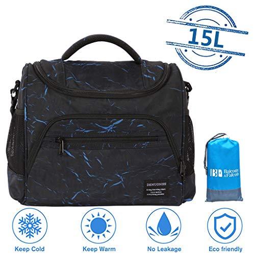 Picknicktasche mit Picknick Decke, Auslaufsicher Mittagessen Tasche, Kühltasche mit Isoliertasche, Kühlrucksack für Camping Wandern Picknick,Blue-15L