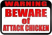 警告攻撃に注意してくださいチキンティンサイン壁の装飾金属ポスターレトロプラーク警告サインオフィスカフェクラブバーの工芸品