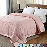 downluxe Lightweight Queen Down Alternative Blanket with Satin Trim, Baby Pink, 90 X 90 In...