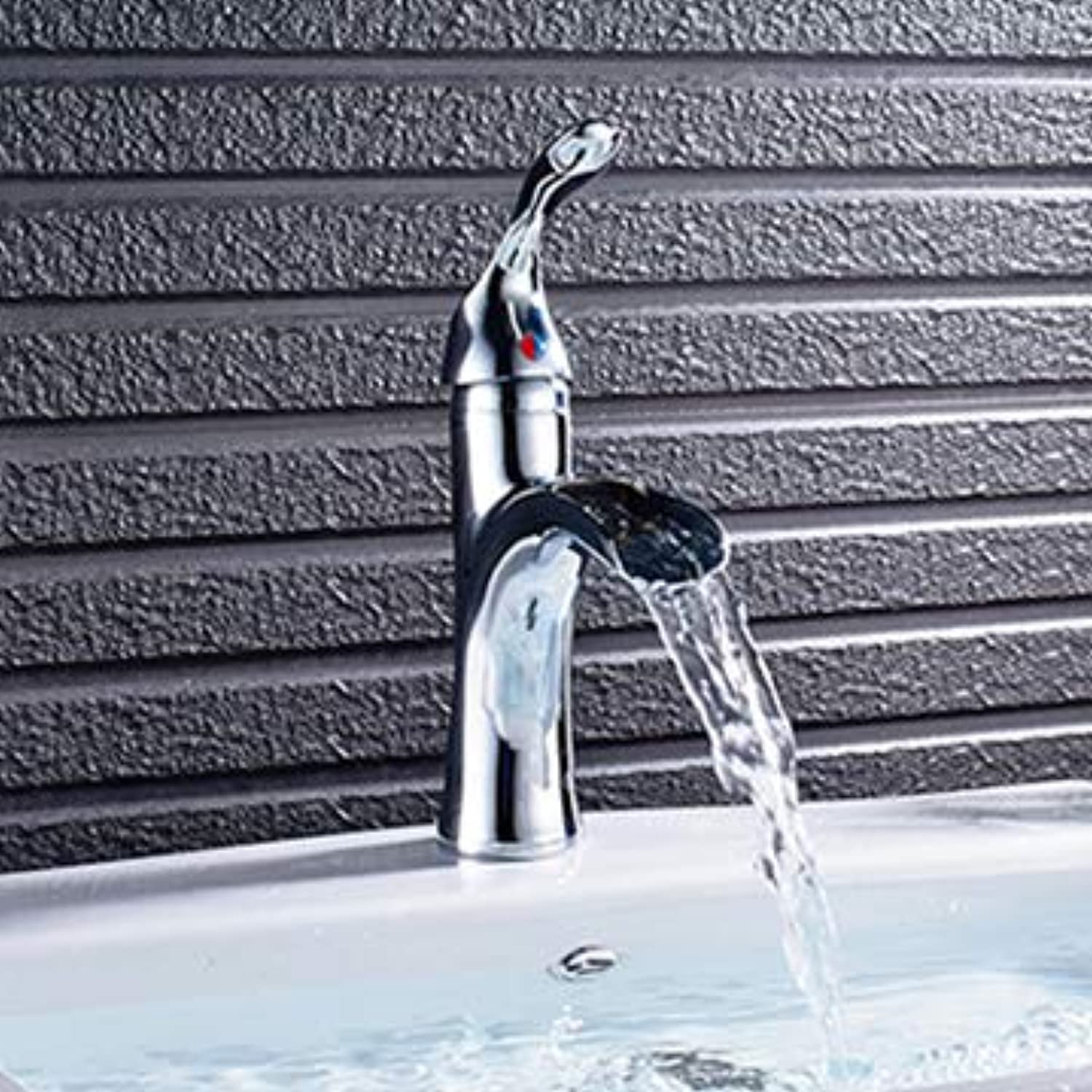 U-Enjoy Chandelier Faucets Waterfall Basin Faucet Handle Top Quality Basin Single Mixer Tap Bathroom Chrome Nickel Orb Faucet Finish Free Shipping [Chrome]