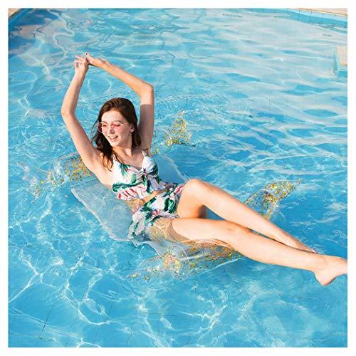 Süßigkeiten Schwimmtier luftmatratze Wasser Aufblasbar Hängematte mit Glitzer oder Federn Tragbar Liegestuhl Schwimmen Pool Floß Wasserspielzeug Aqua Lounge für Erwachsene 130x73cm,Gold