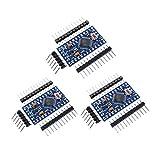 ZHITING 3 pièces Microcontrôleur de Carte de développement Pro Mini Atmega328P-AU 5 V / 16 MHz avec en-têtes de Broches pour Arduino