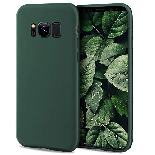 Moozy Minimalist Series Funda Silicona para Samsung S8, Verde Oscuro con Acabado Mate, Cover Carcasa de TPU Suave y Fina